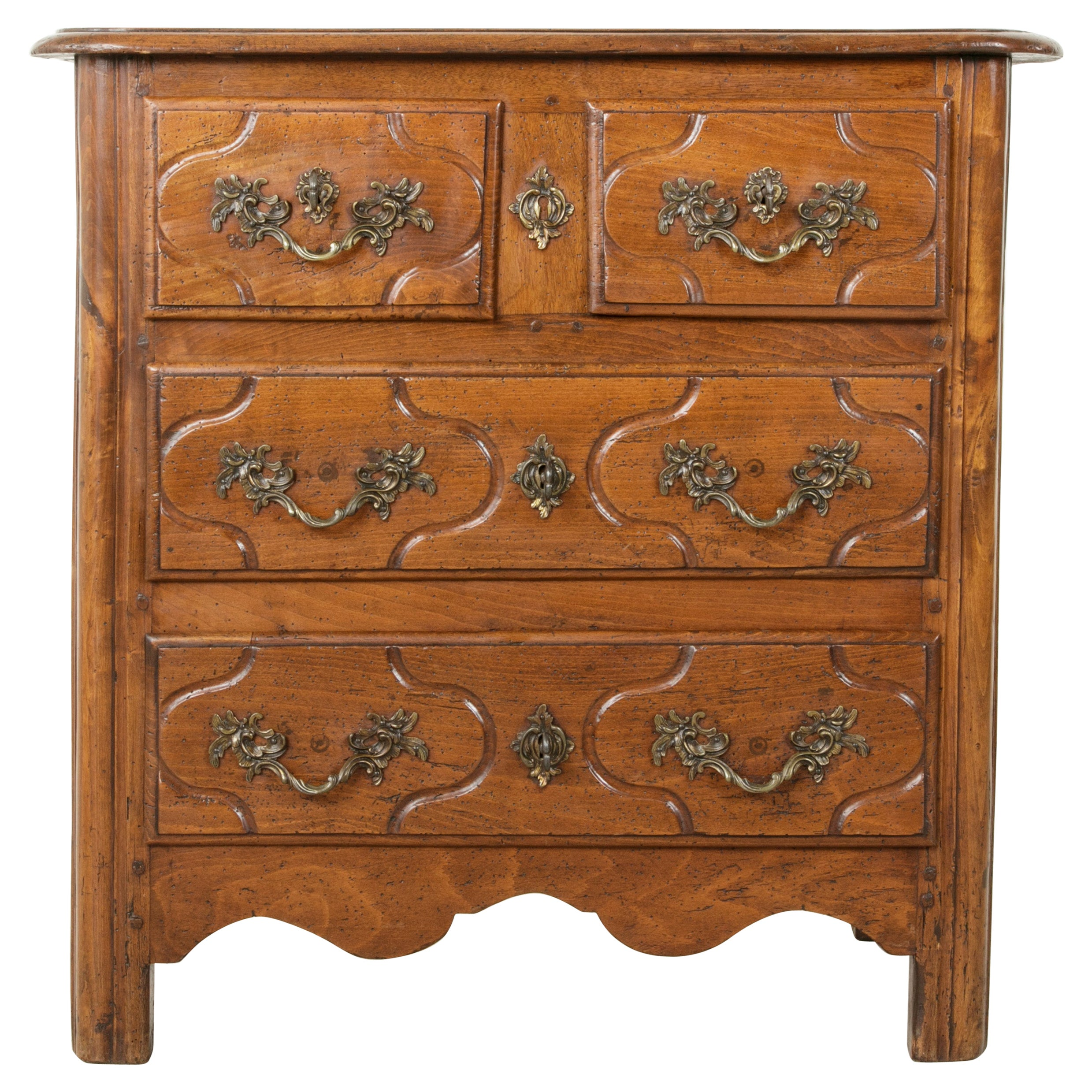 Mid-18th Century French Louis XIV Period Hand Carved Chestnut Commode or Chest