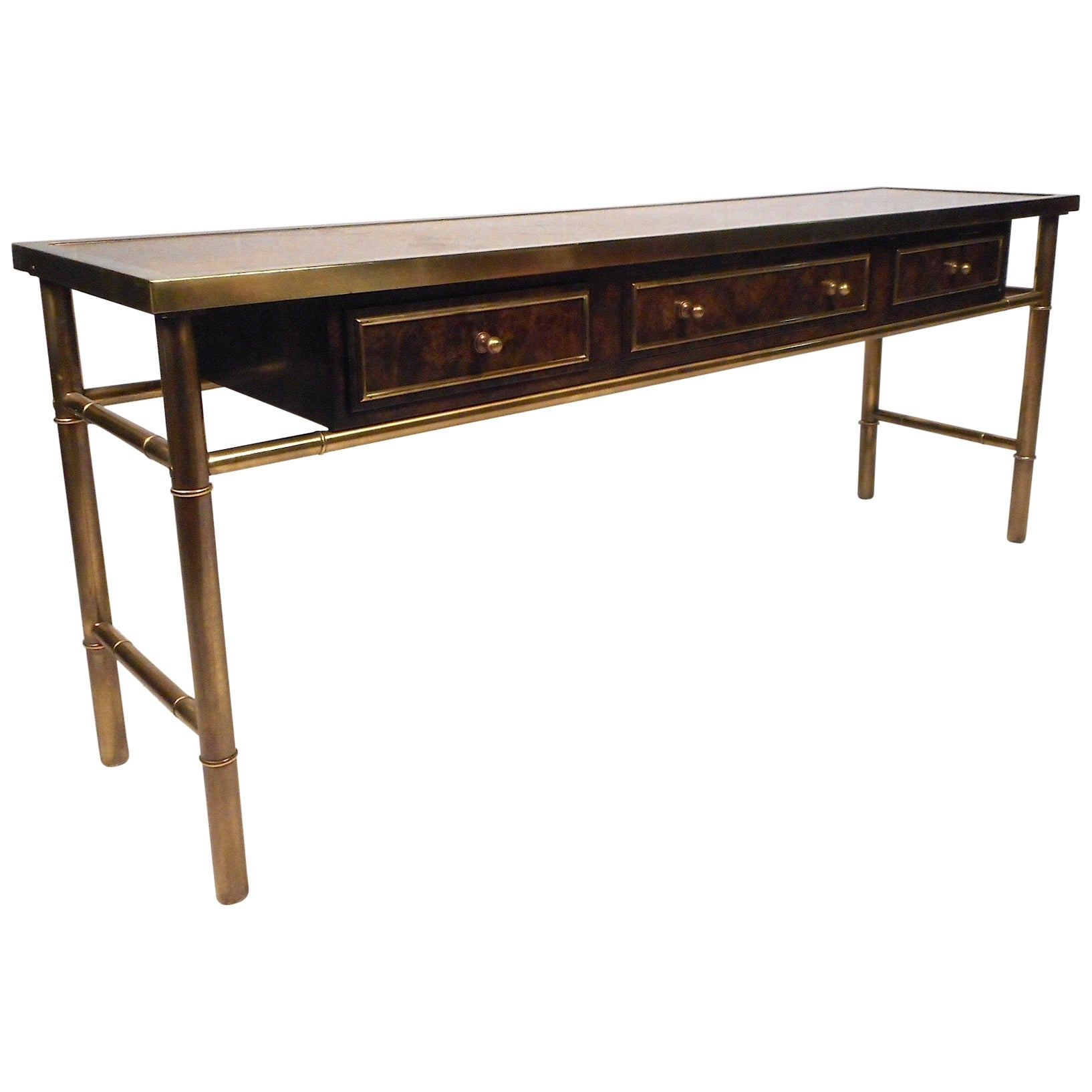 Midcentury Burl Wood and Brass Console Table by Mastercraft