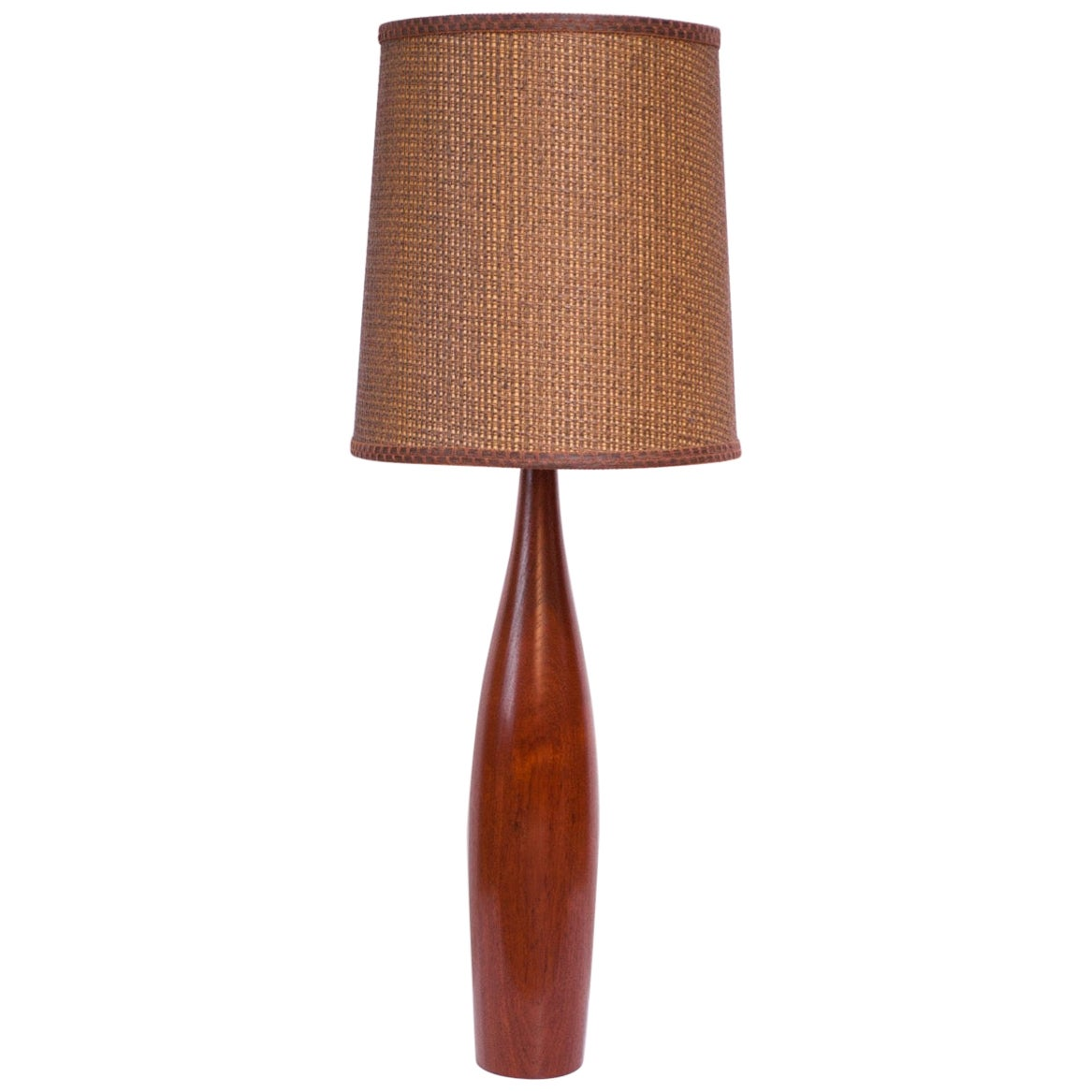 Tall Danish Modern Turned Teak Lamp by ESA