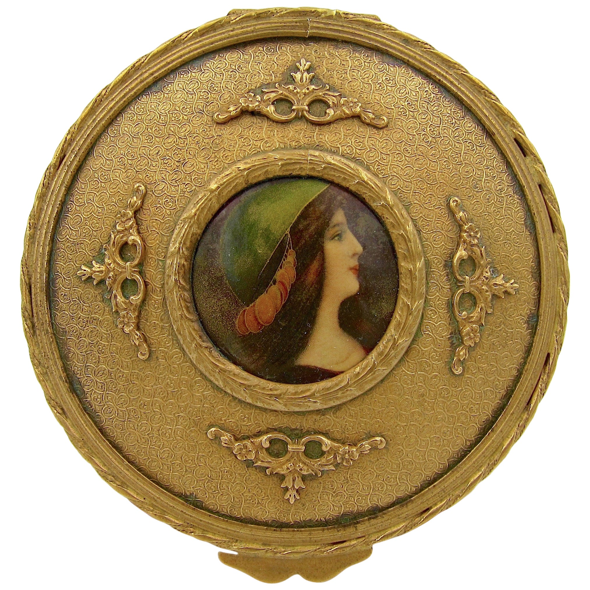 Antique French Gilt Bronze Vanity Box with a Hand Painted Enamel Portrait