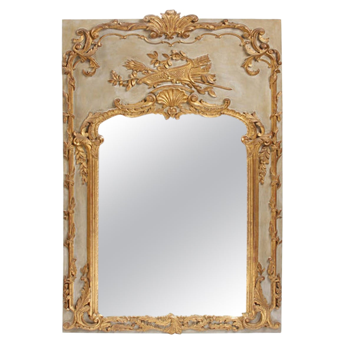 French Louis XV Style Parcel-Gilt Boiserie Mirror, 19th Century