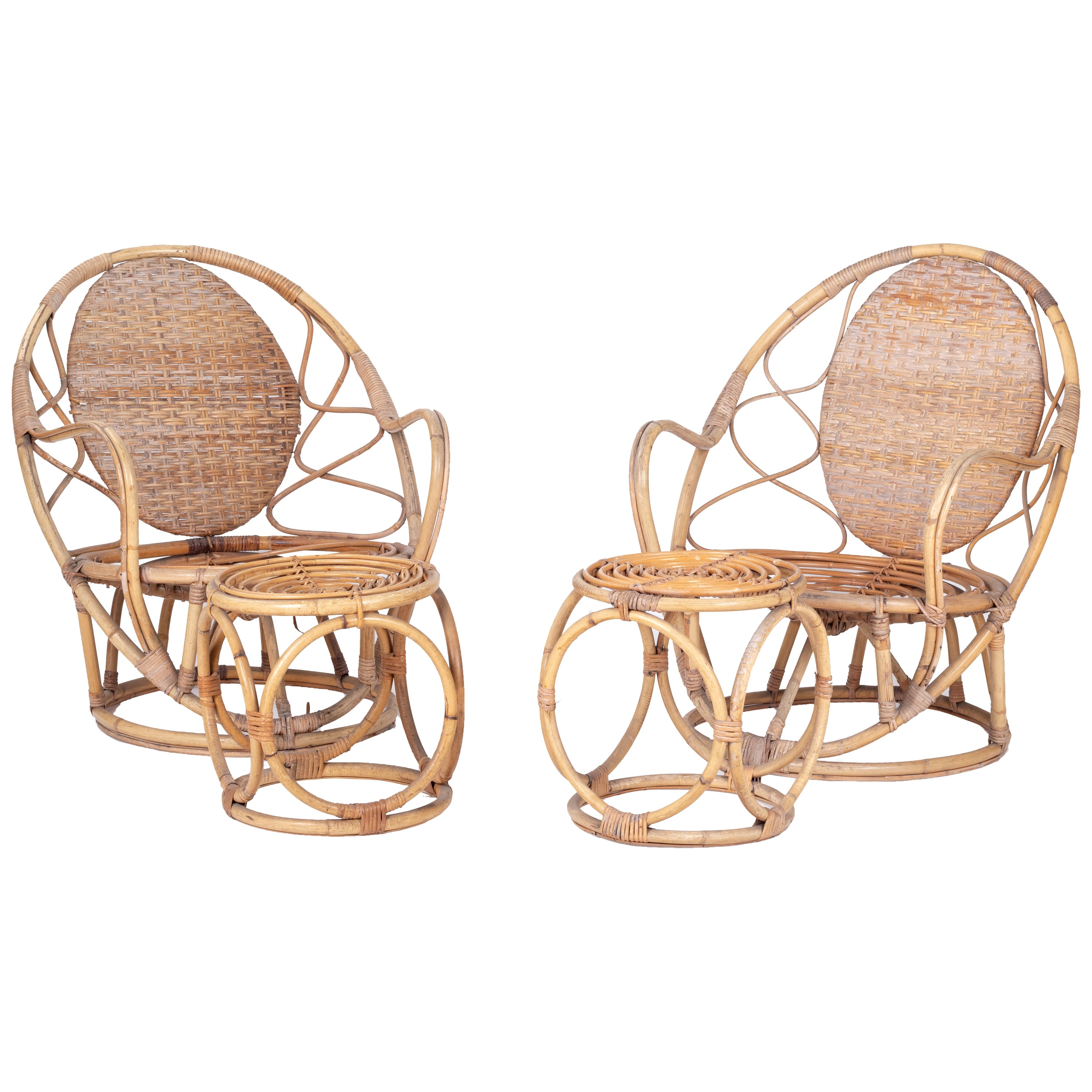 1970s Pair of Bamboo and Wicker Armchairs with Matching Puffs
