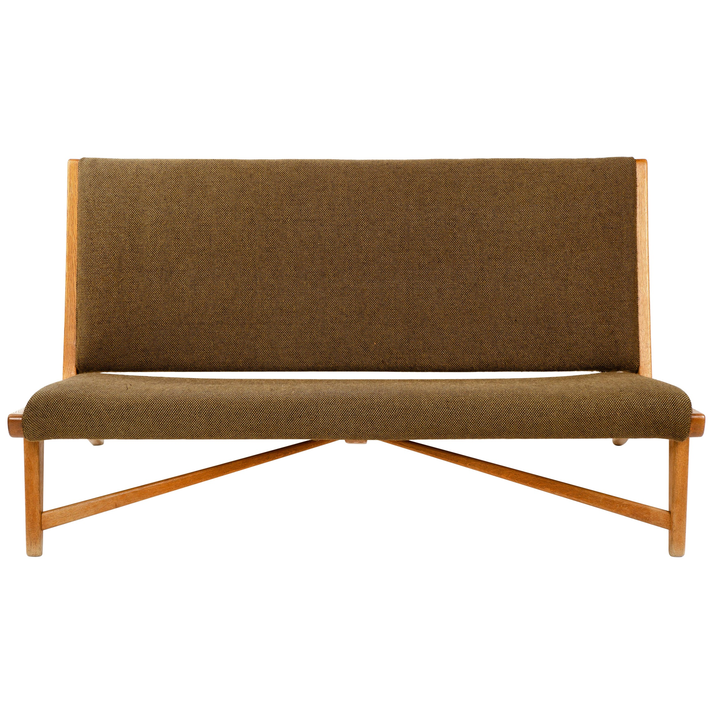 1950s Danish Oak Settee by Hans J. Wegner for Johannes Hansen
