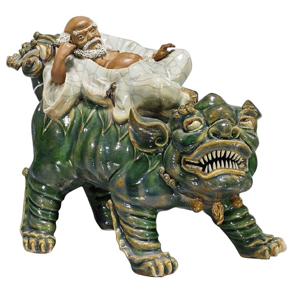 Chinese Shekwan Glazed Pottery Sculpture