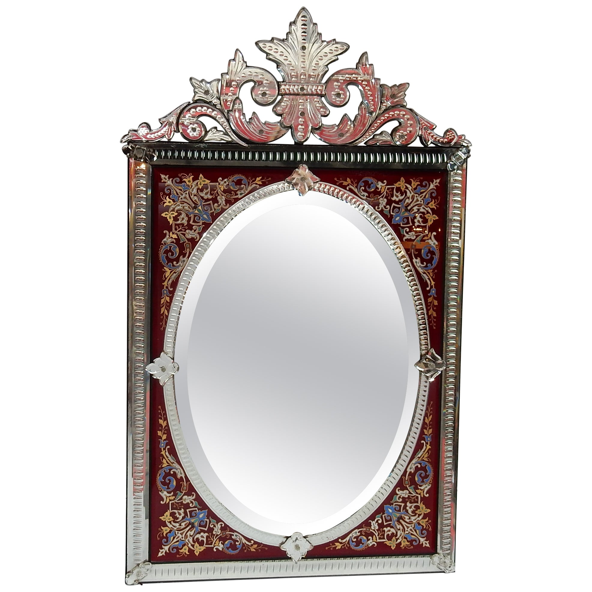 1880-1900 Venitian Mirror with Pediment - Red Color Glass Adorned with Flowers