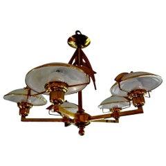 Italian Mid-Century Modern Brass and Glass Chandelier, Stilnovo Style