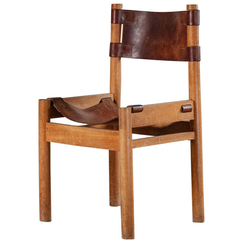 French Oak Chairs with Leather Sling Seats by Pierre Chapo