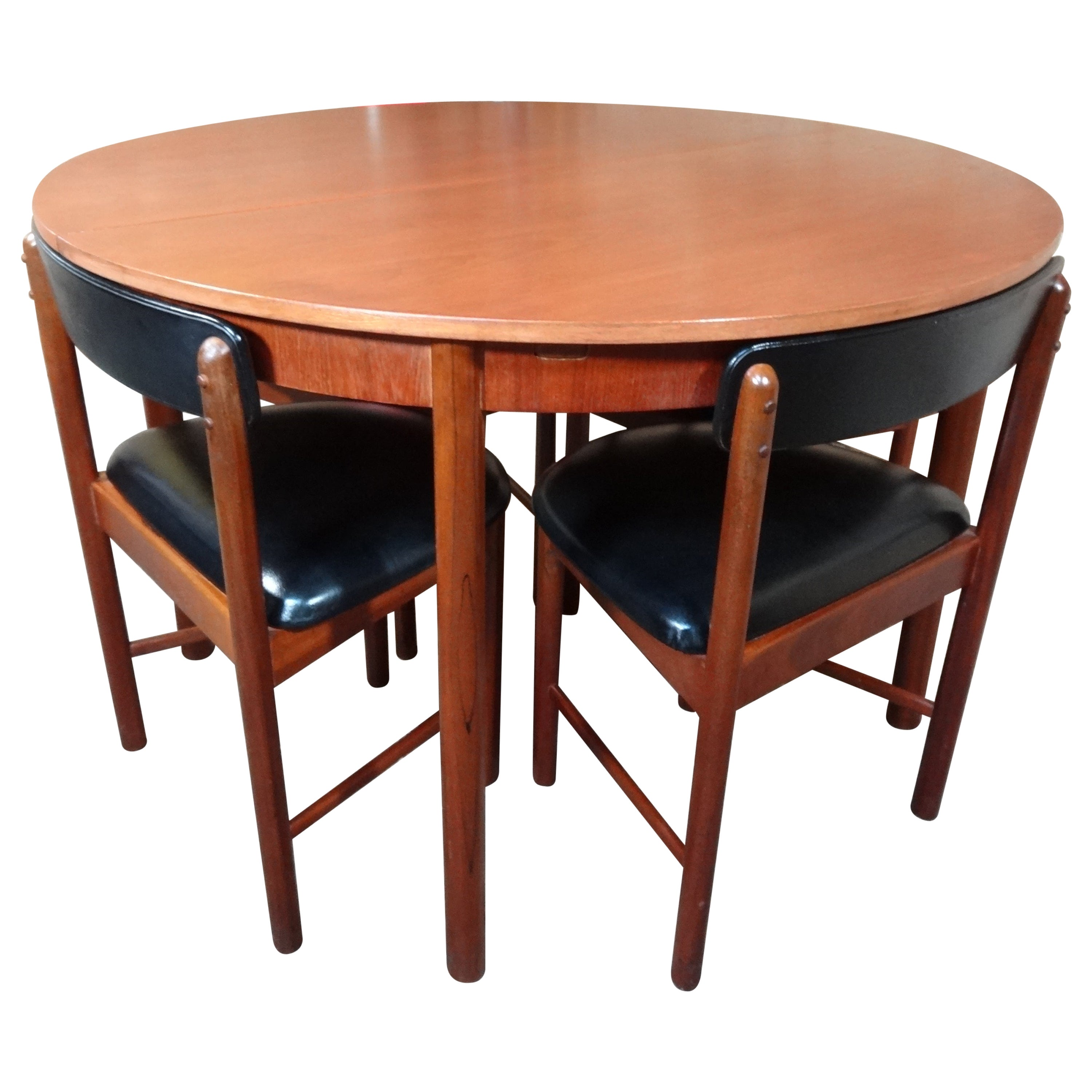 Vintage Teak Foldout Dining Table 4 Chairs By Tom Robertson For Mcintosh 1960 At 1stdibs