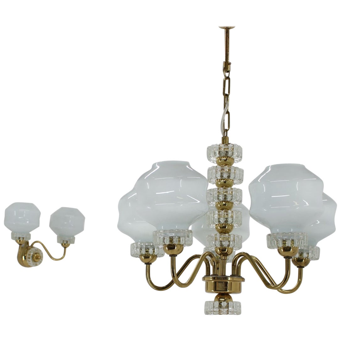 Set of Chandelier and Wall Lamp, 1970s