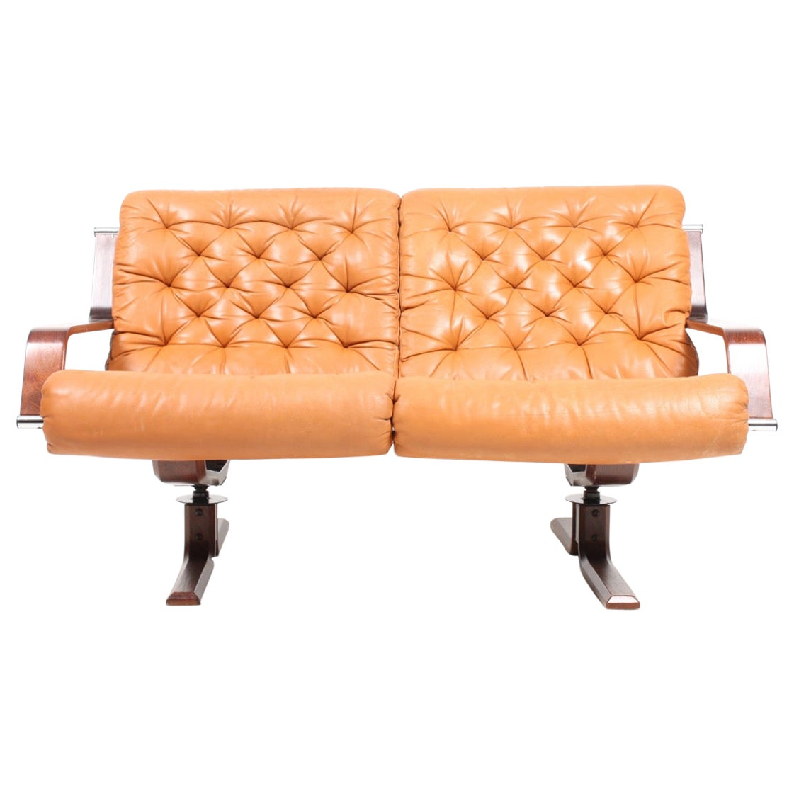 Scandinavian Modern Sofa in Patinated Leather, Midcentury Design, 1960s