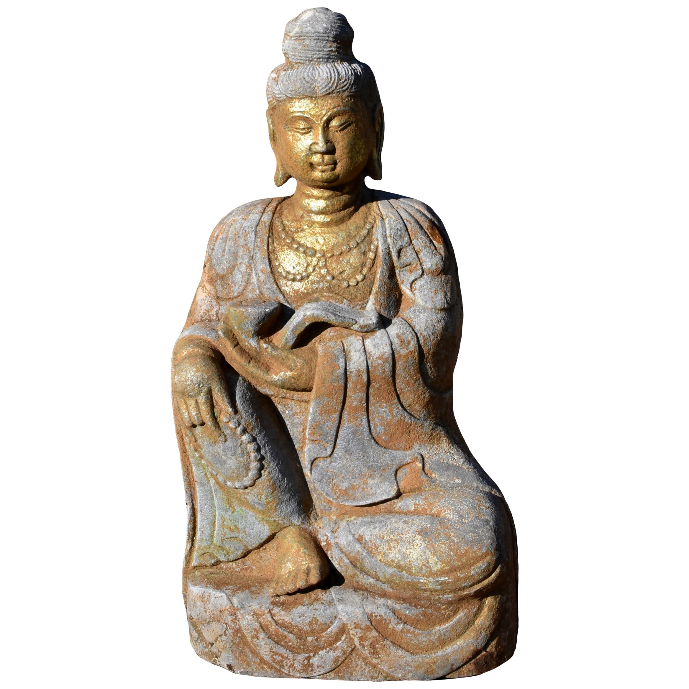 Golden Stone Buddha Statue Holding a Ru Yi in Tang Style