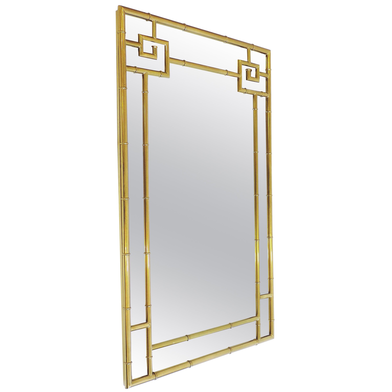 Spectacular Brass Bamboo Wall Mirror, Italy 1970s