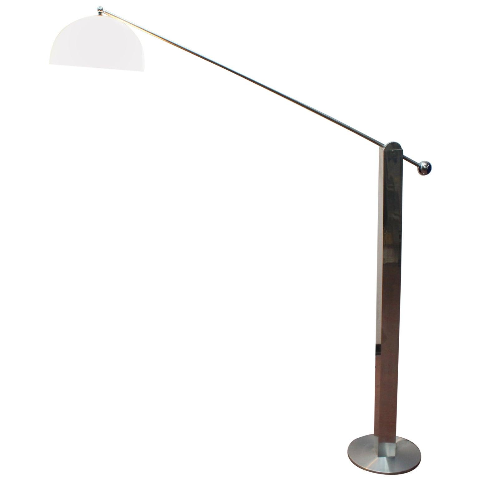 Midcentury Chromed Floor Lamp Reggiani Italy 1970s