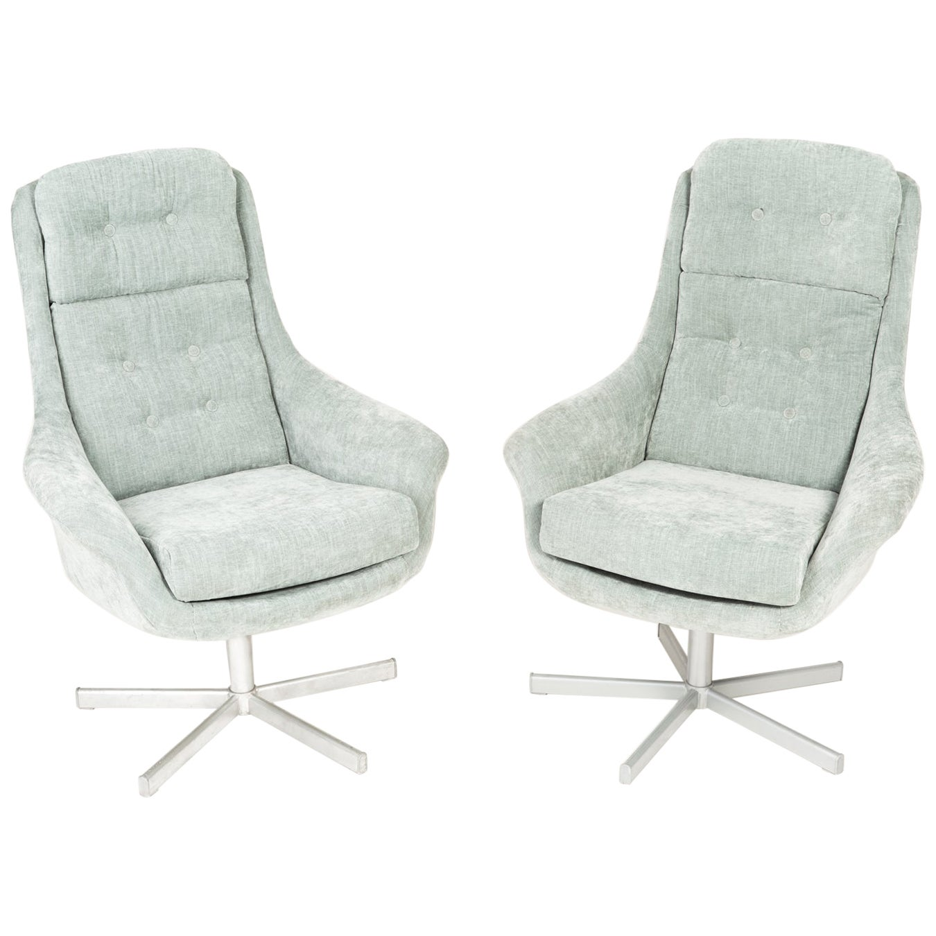 Set of Two 20th Century Vintage Light Green Swivel Armchairs, 1960s