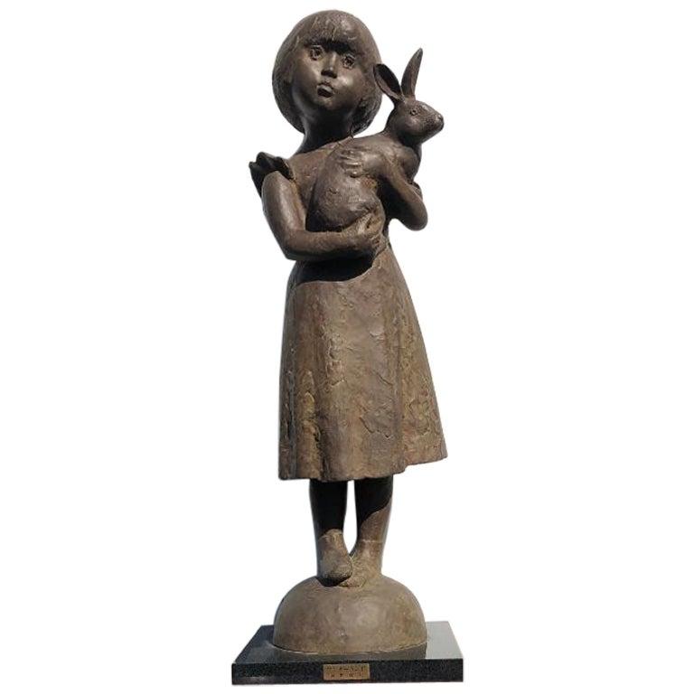 "Japanese Cast Bronze ""Rabbit Girl of Wonderland"