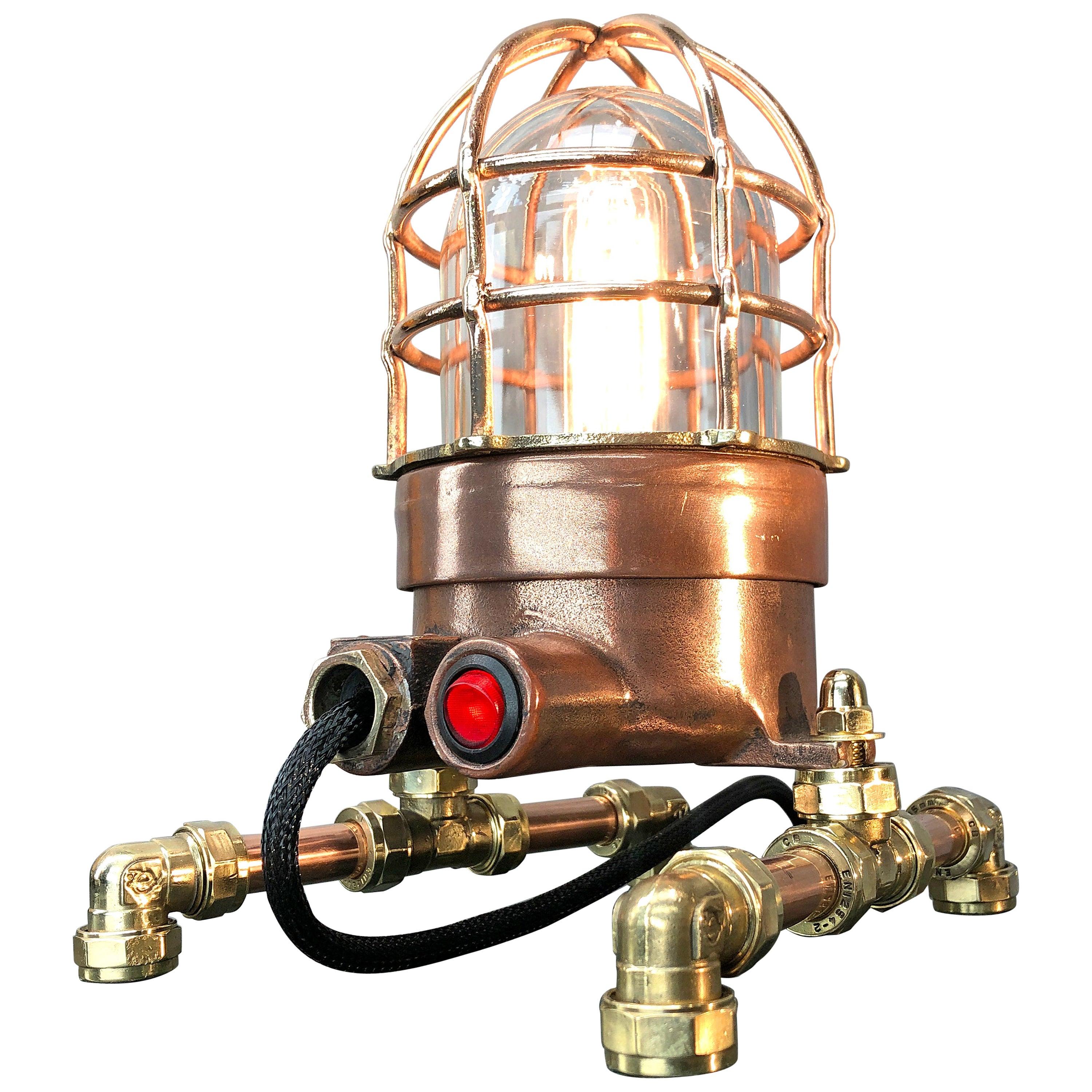 Late Century Copper, Brass and Glass Edison Steampunk Industrial Table Lamp