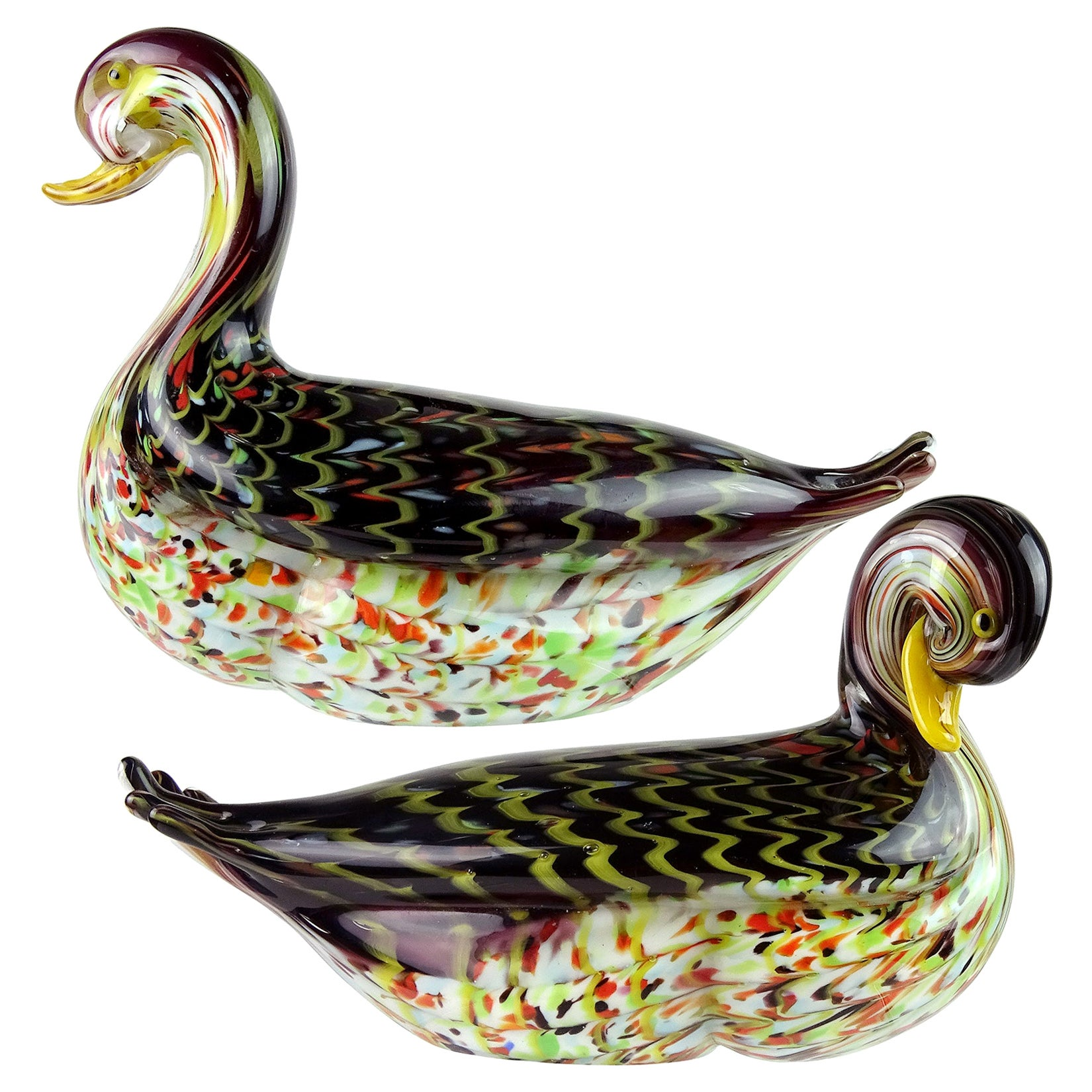 Murano Pulled Feather Design Italian Art Glass Male Female Duck Sculptures