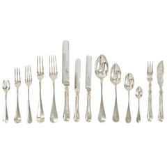 Massive Antique Silver Flatware Set for 24, Austrian, 376 Pieces Total