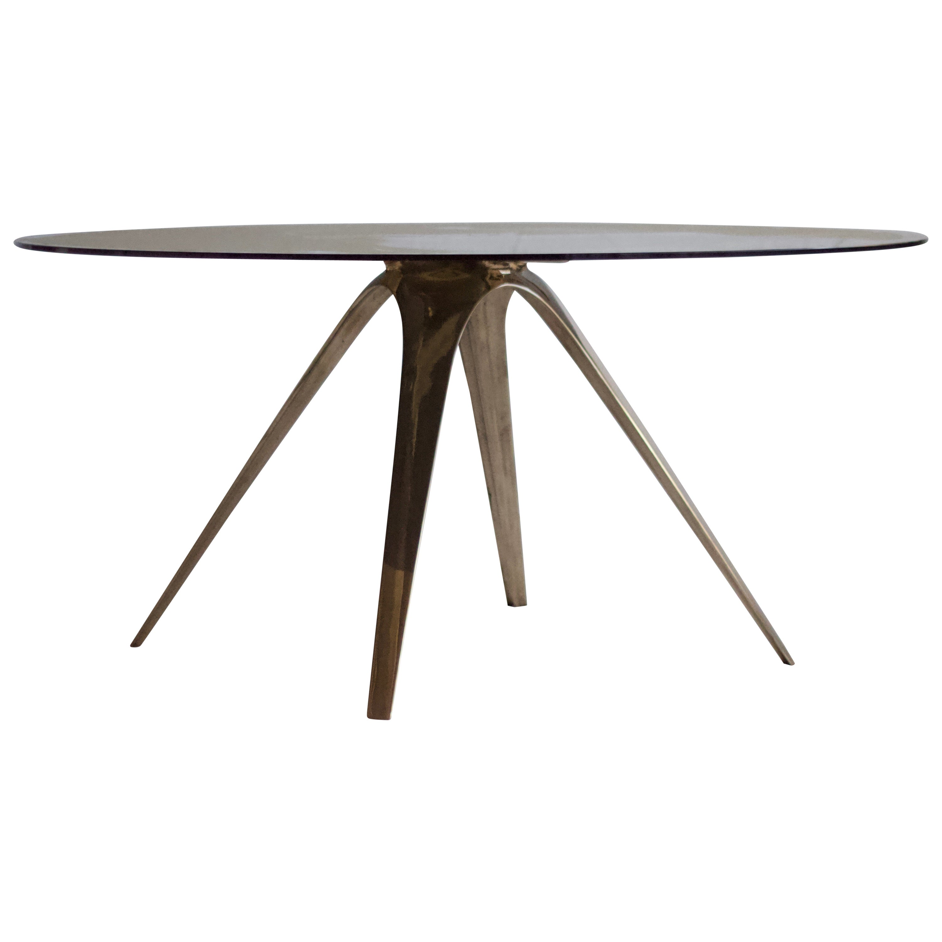 Barbera Spargere Round Table, Modern Solid Bronze Base with Glass Top