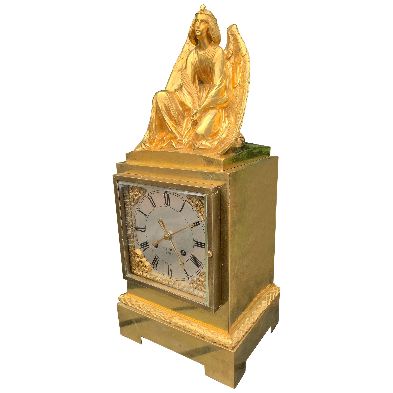 Gorgeous Gilt Bronze Gothic Revival Mantel / Table Clock w Earth Angel Sculpture