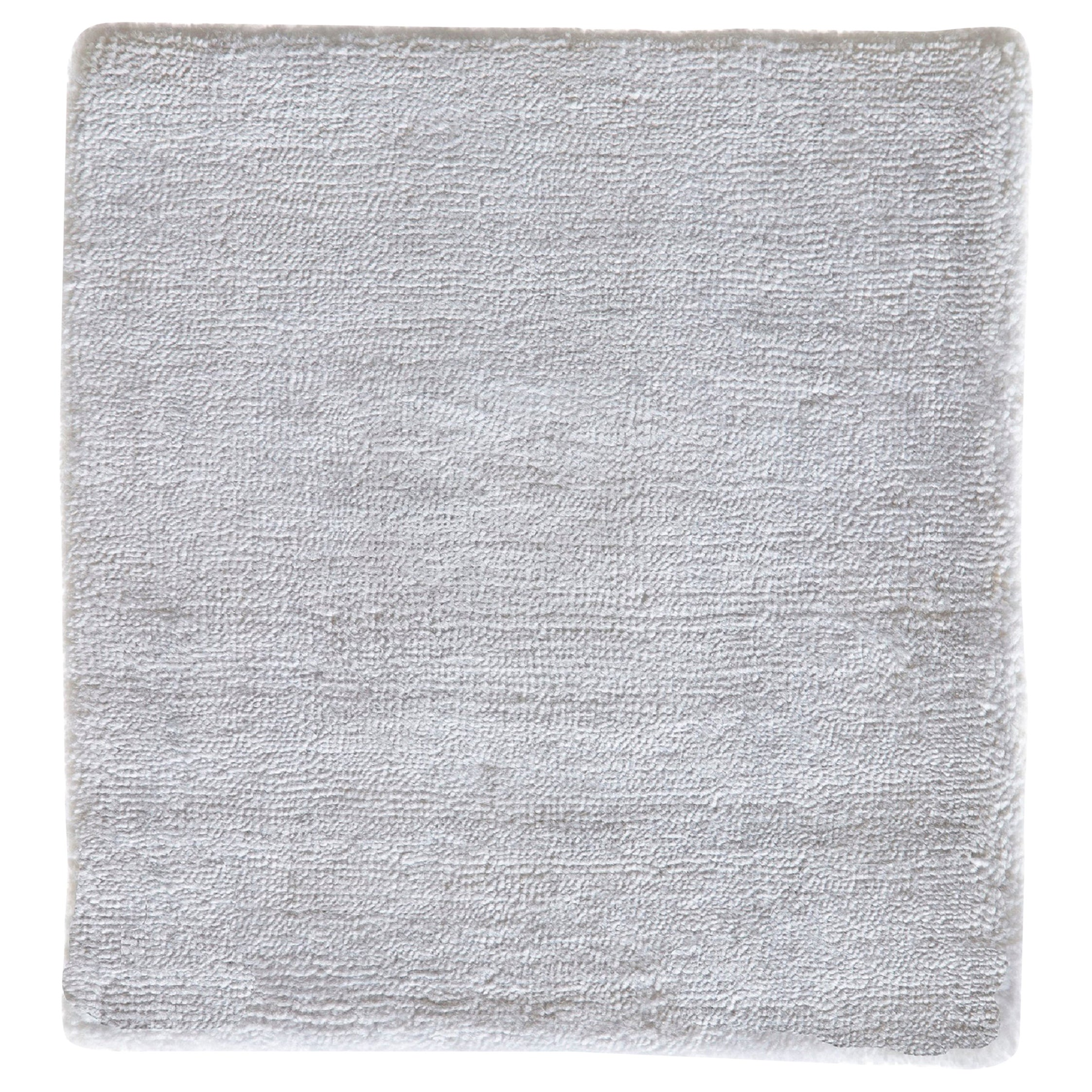 Modernist Contemporary Natural Bamboo Silk White Hand-Woven Rug