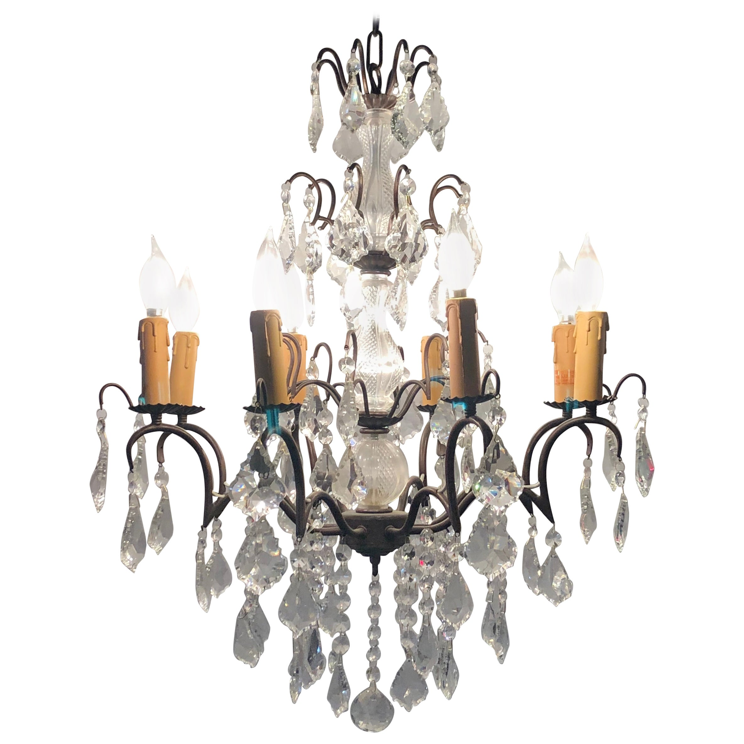 Copper Designed Metal and Crystal Chandelier with Centre Cut Glass Column