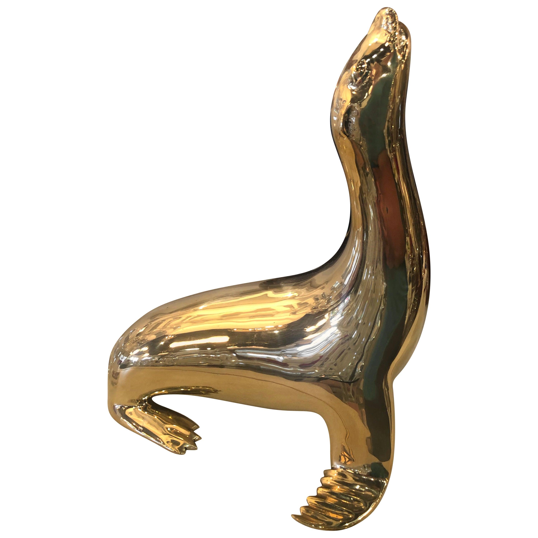 Vintage Polished Brass Seal Animal Figure Statue