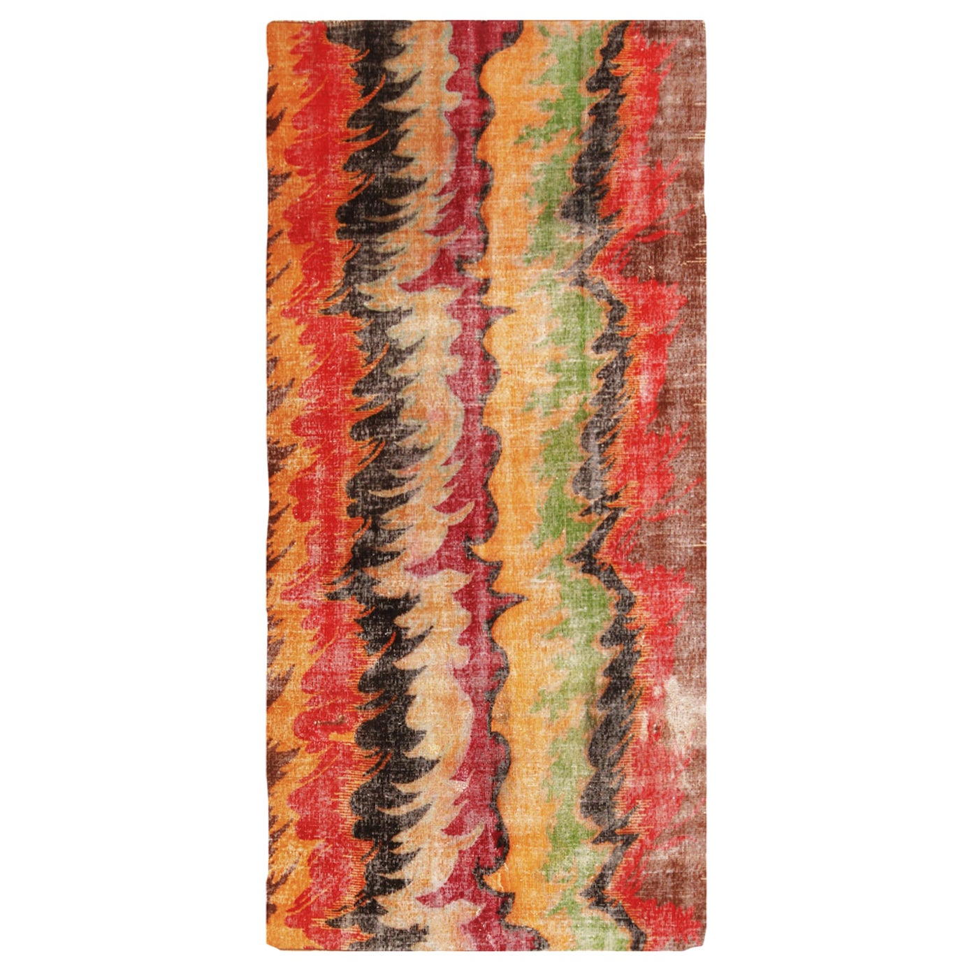 Contemporary Geometric Red and Yellow Multi-Color Wool Rug