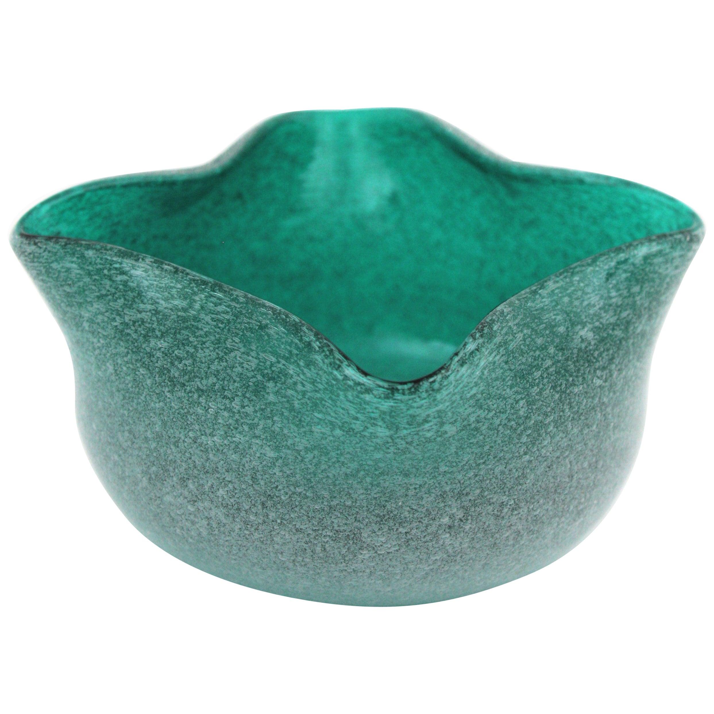 Seguso Vetri D'Arte Pulegoso Air Bubbles Green Blue Murano Art Glass Bowl