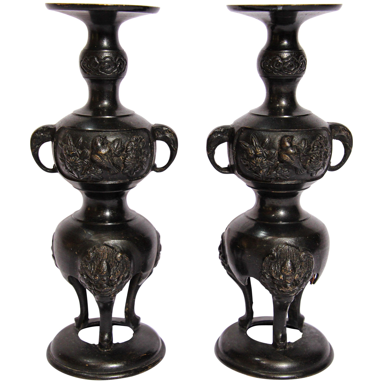 Pair of Black Bronze Japanese Candleholders Incense Burner