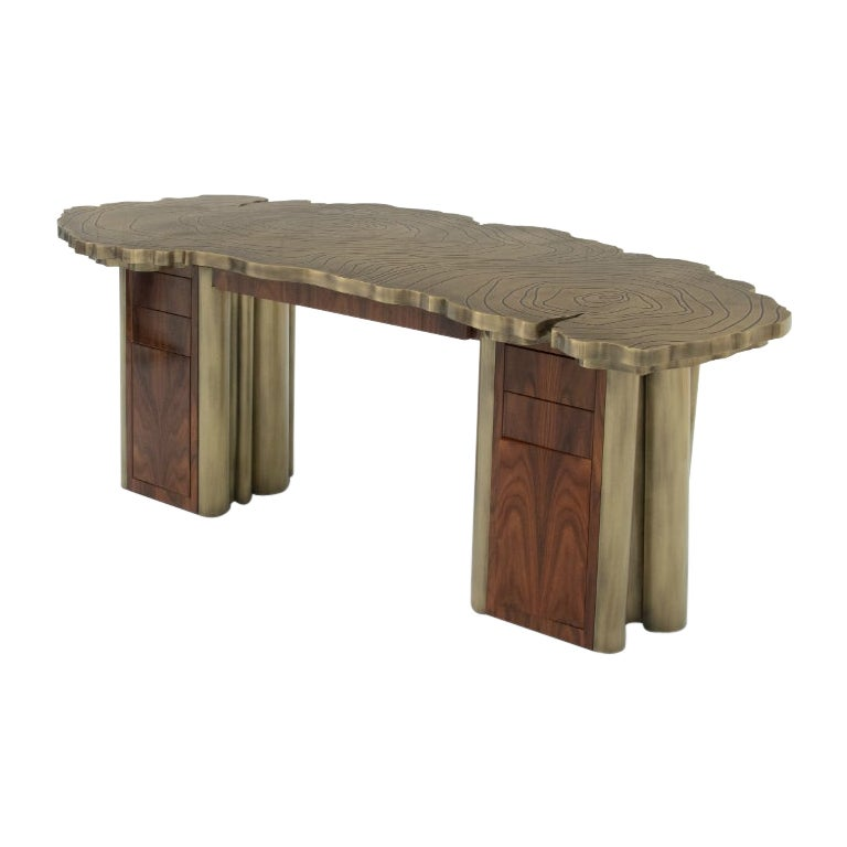 Fortuna Desk in Polished Brass and Palisander Wood Veneer
