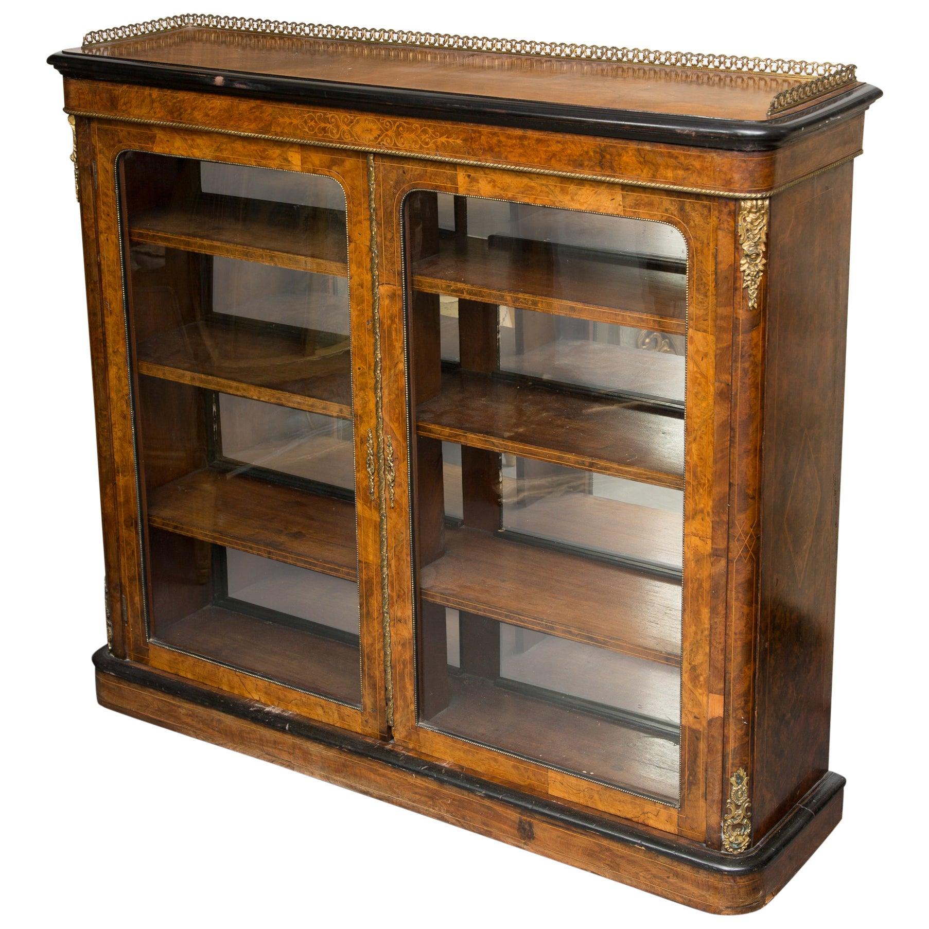 19th Century English Victorian Walnut Bookcase
