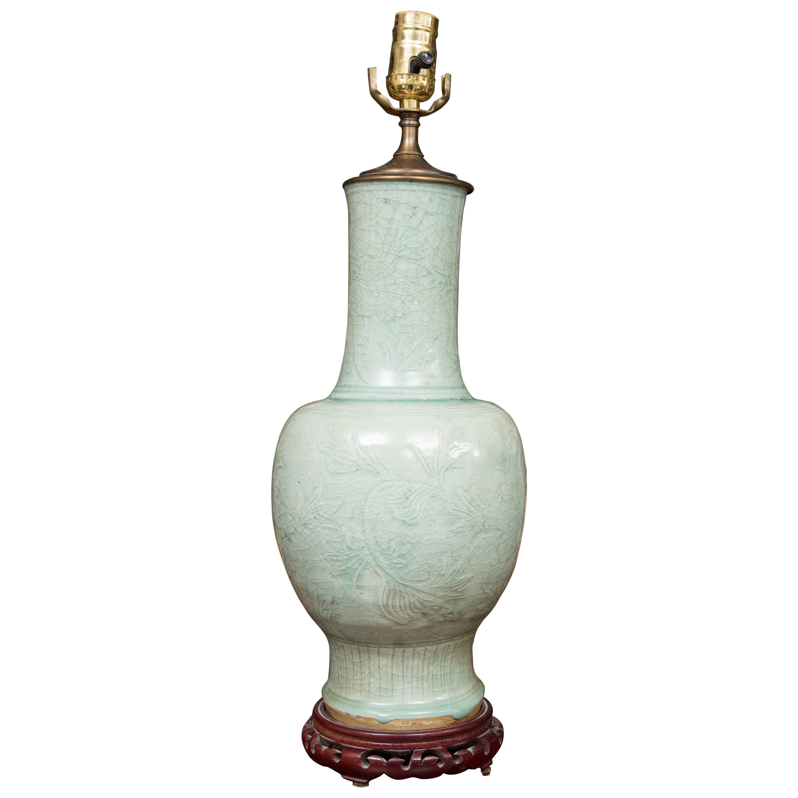 Early Celadon Vase as a Table Lamp