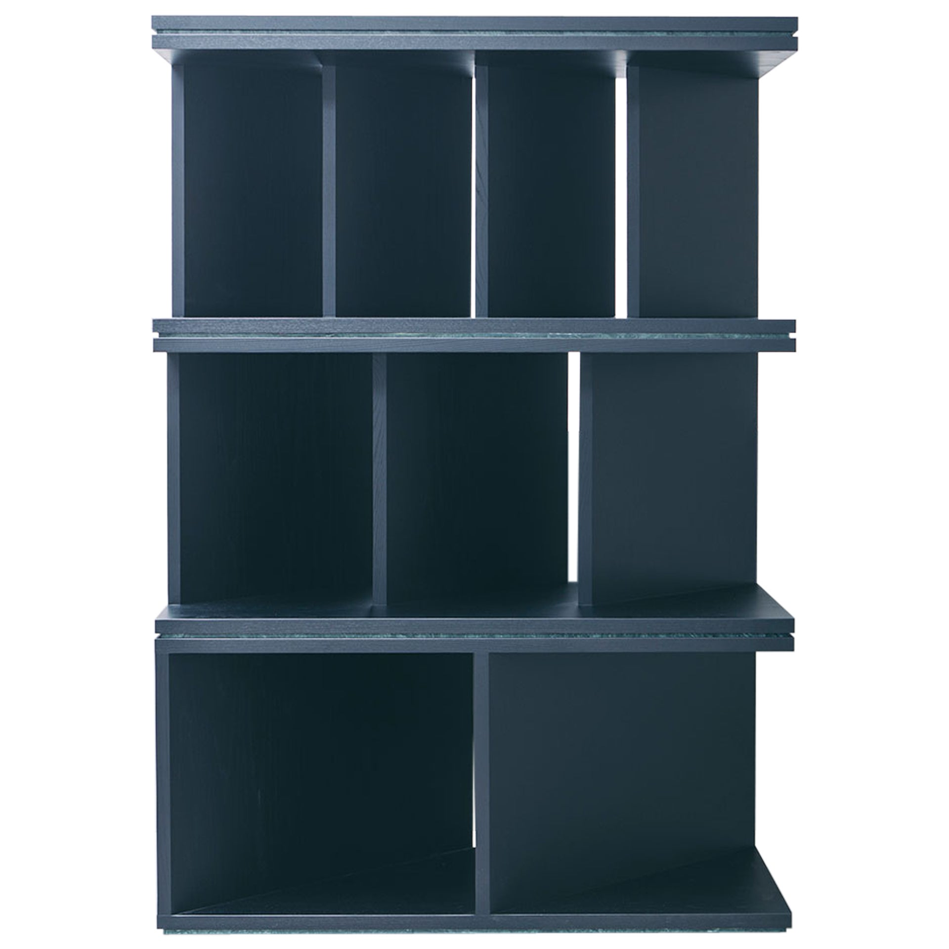 contemporary black ash wood room divider and bookcase, oblique 01.1 by barh