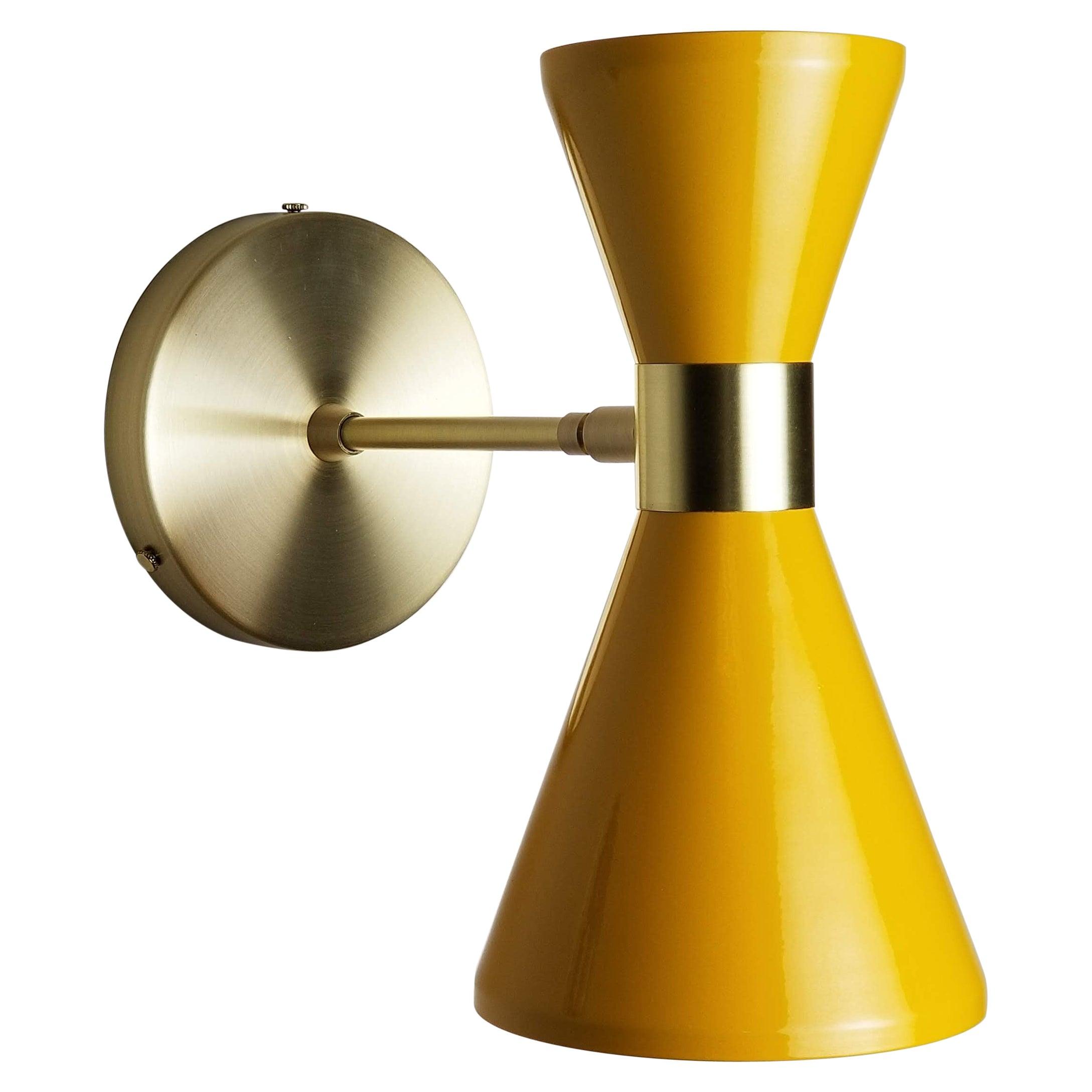 Modern Campana Wall Sconce in Brass + Yellow Enamel by Blueprint Lighting