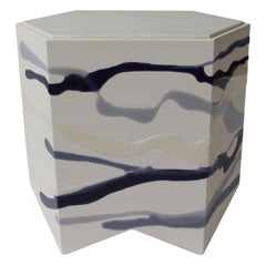 Drip/Fold Side Table, Ash Plywood with Indigo Resin White Leather Top, in Stock
