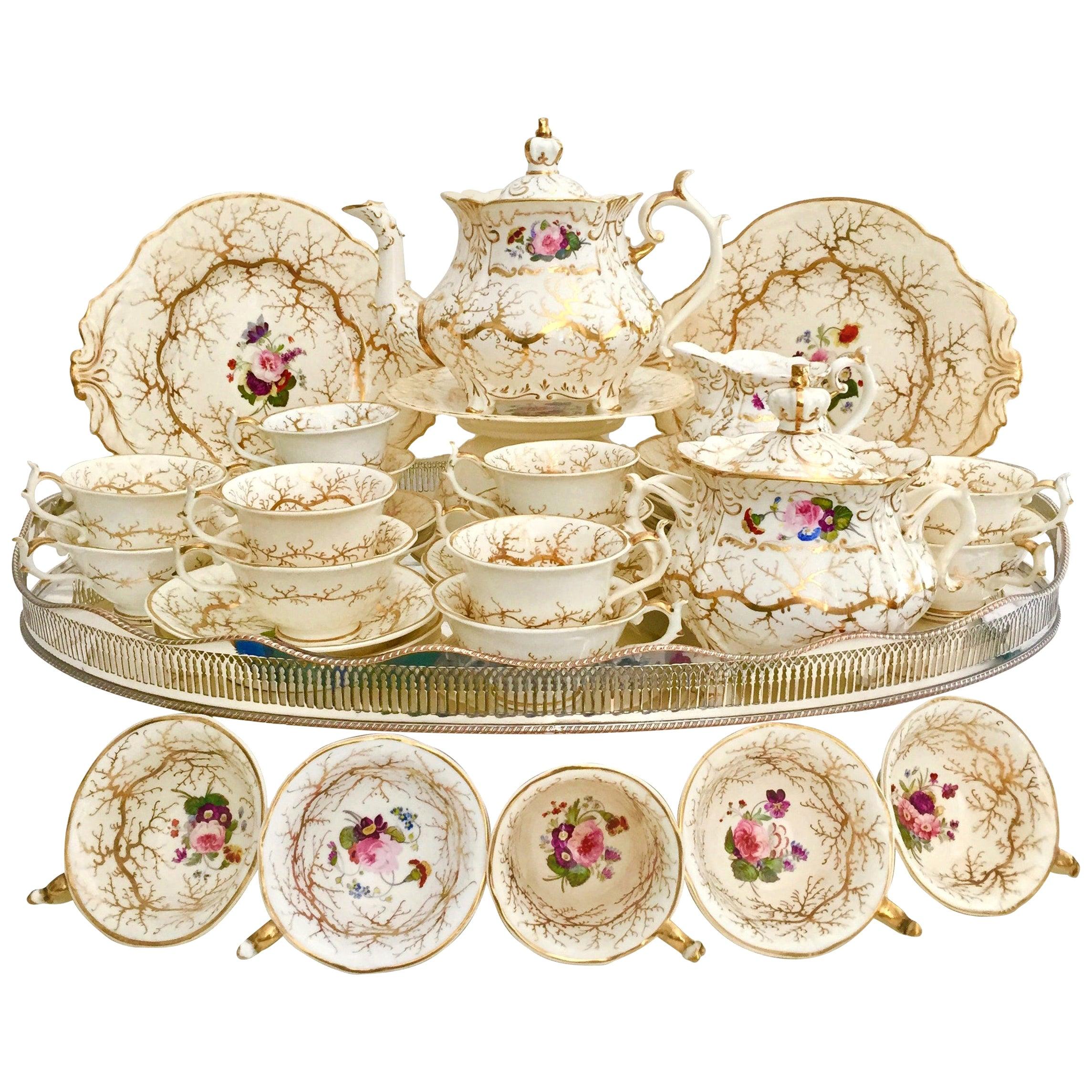Rockingham Porcelain Tea Service, Cream, Gilt and Flowers, Rococo Revival, 1832