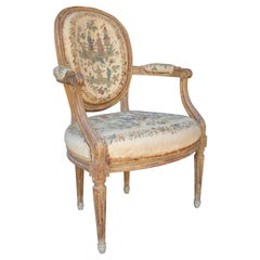18th Century French Original Chinoiserie Tapestry Upholstered Armchair