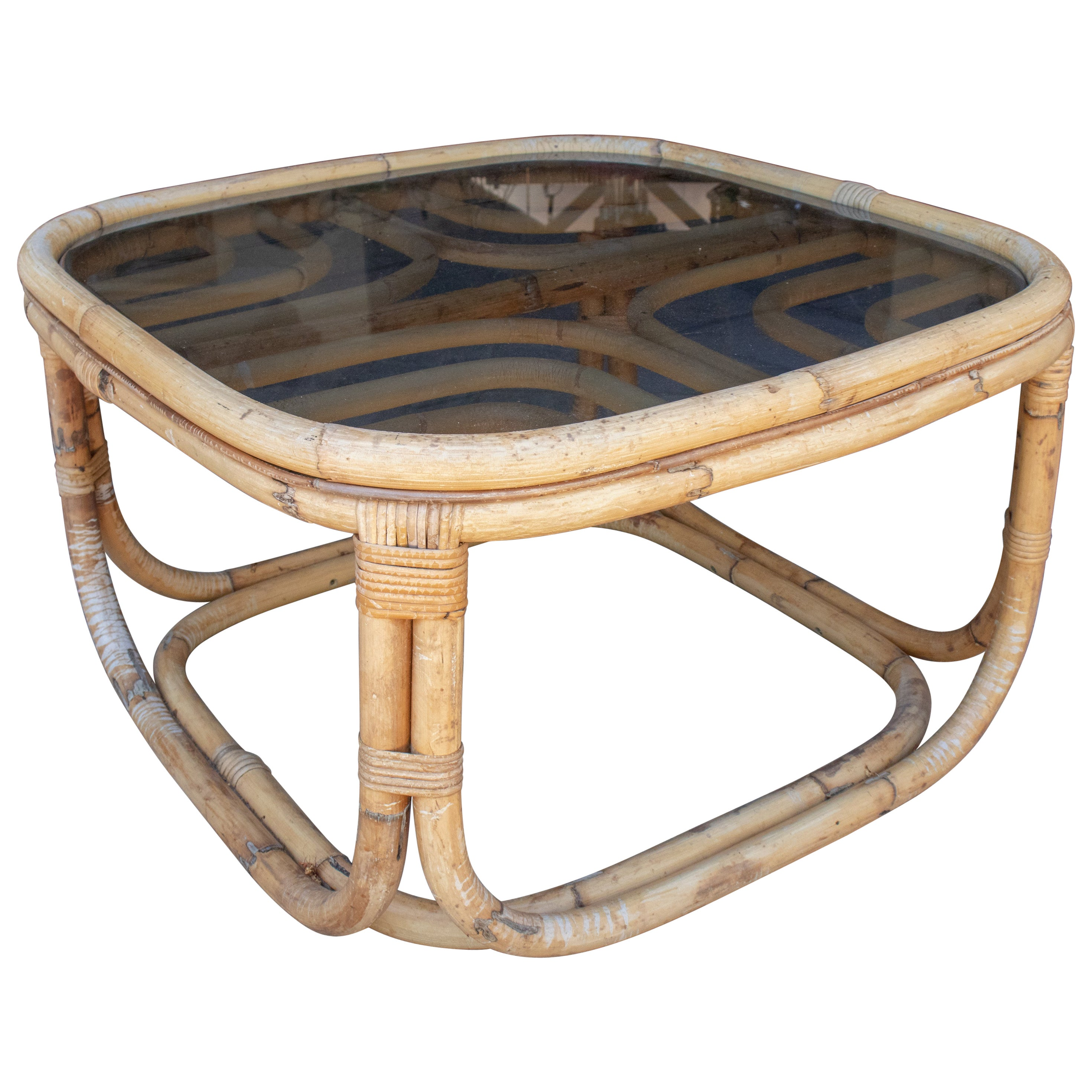 1970s Spanish Bamboo Coffee Table with Smoked Glass Top