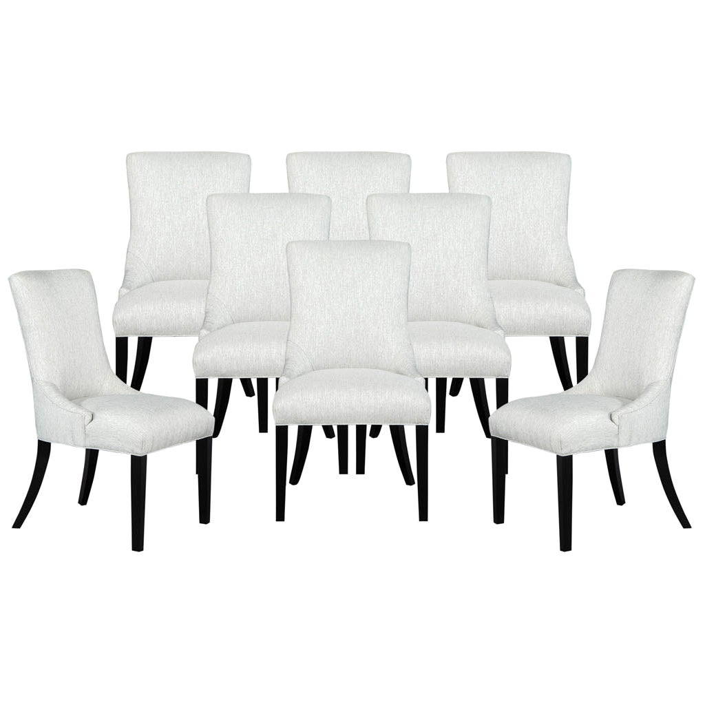 Set of 8 Custom Modern Dining Chairs in Textured Fabric by Carrocel