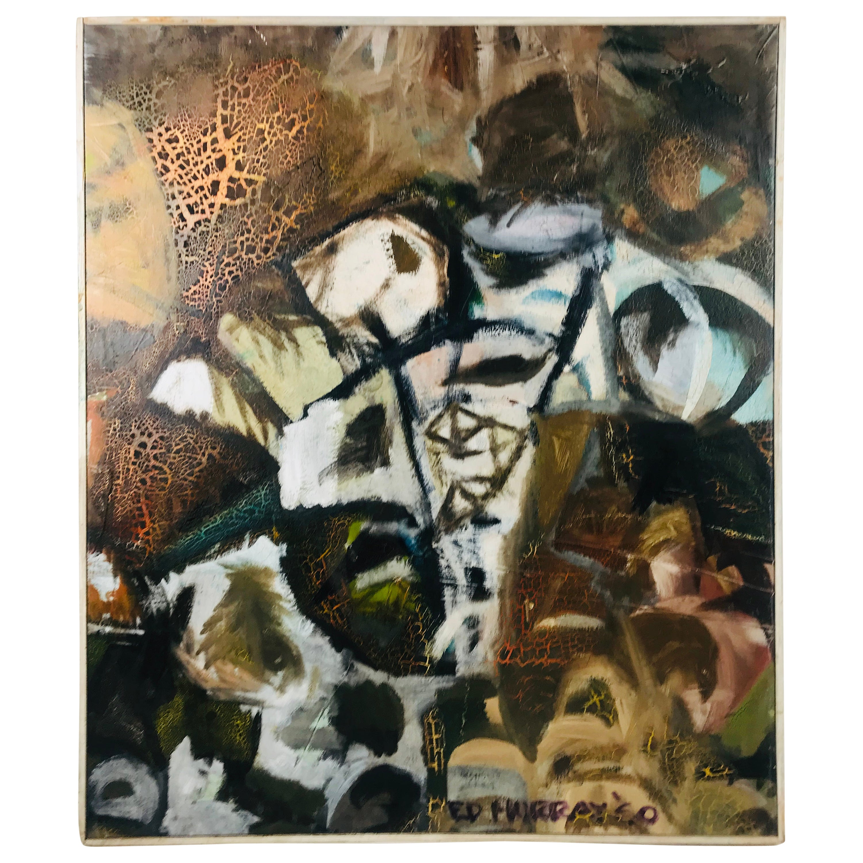 Signed Ed Murray 1960s Oil on Canvas Abstract Fractal Painting
