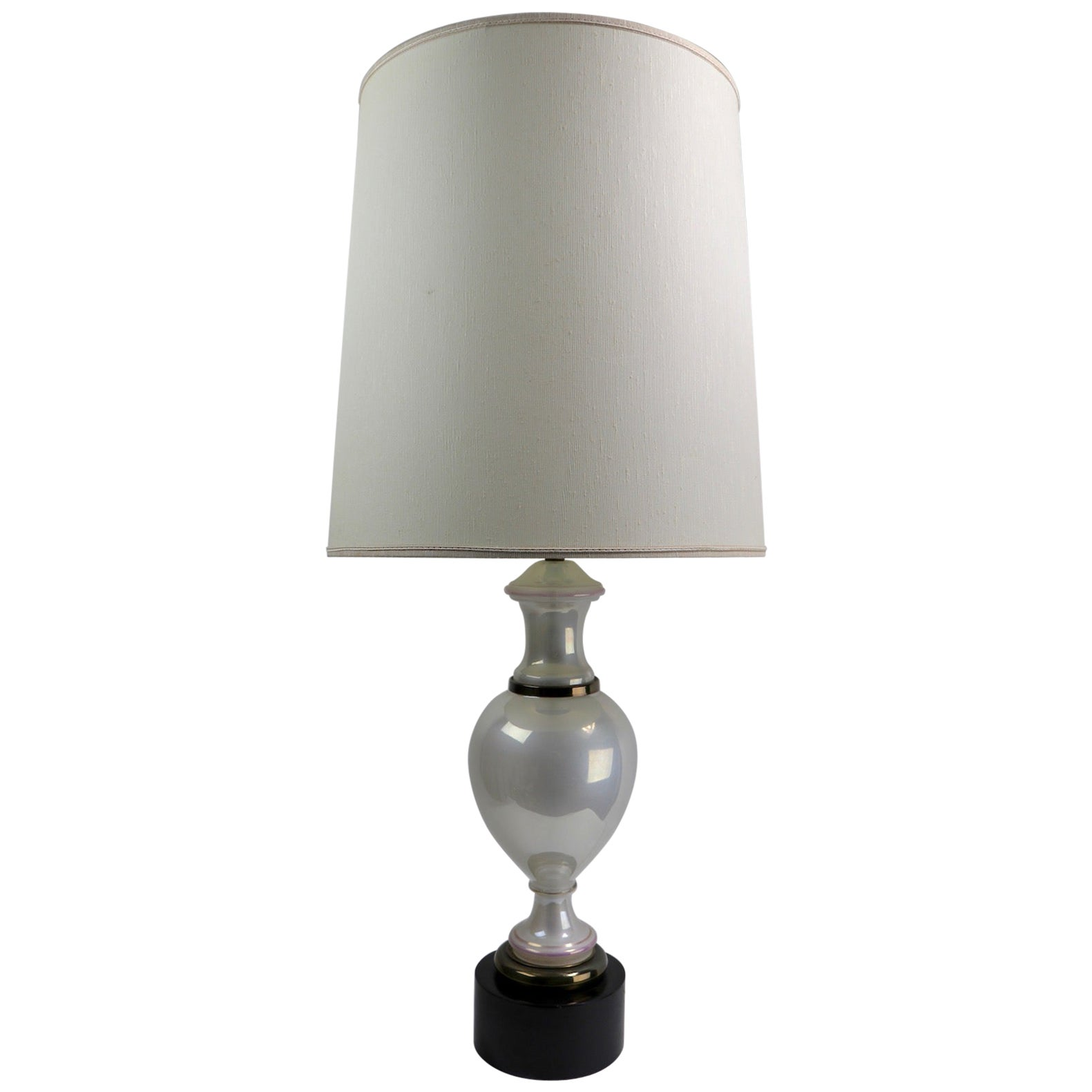 Pearlized Opaline Glass Table Lamp Attributed to Paul Hanson