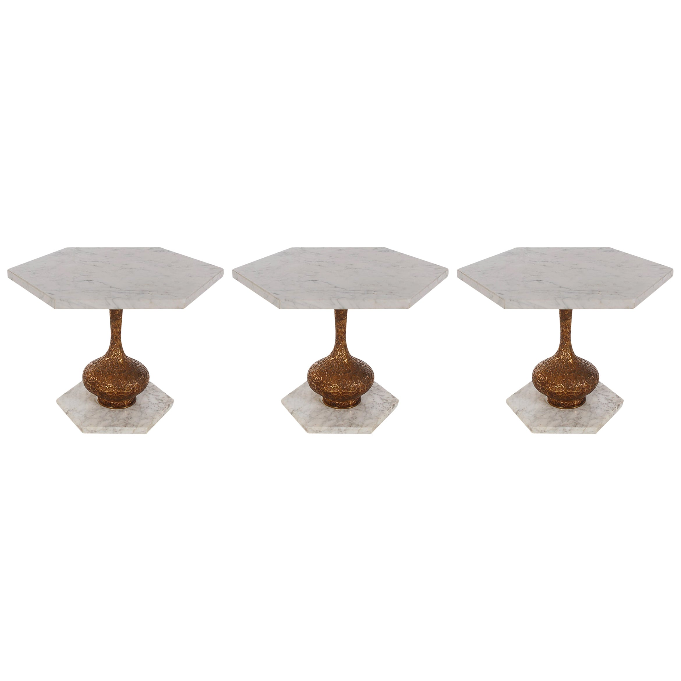 Trio of Modern Italian Hollywood Regency Marble and Brass End or Side Tables