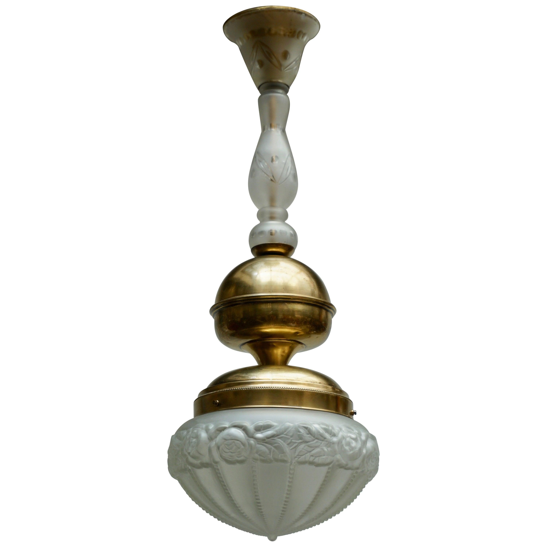 Italian Glass and Brass Pendant Light
