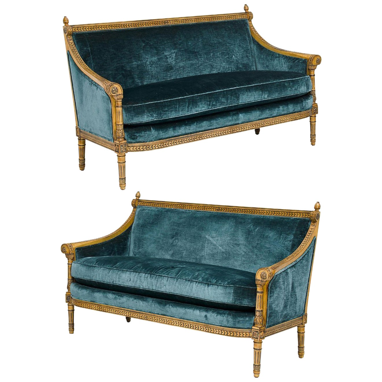 Pair of Louis XVI Style Carved and Laqué Gilded Bergère Settees or Loveseats