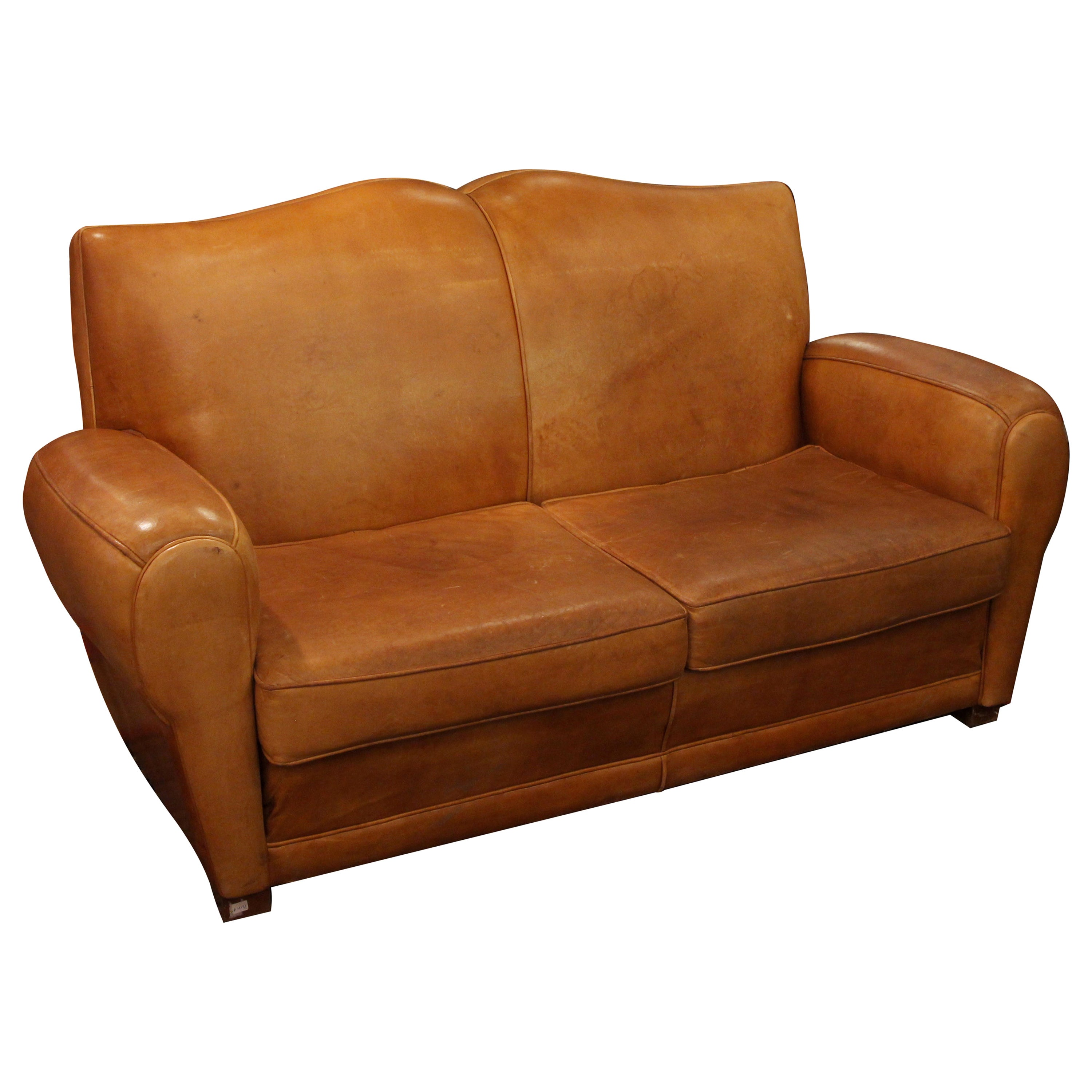 1980s Comfy Mustache Style Tan Leather Club Sofa from France For ...