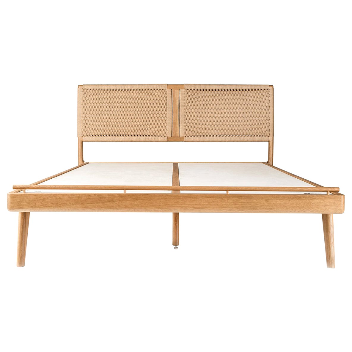 Bed, Cali King, Danish Cord, Woven Headboard, Mid-Century Modern-Style, Hardwood