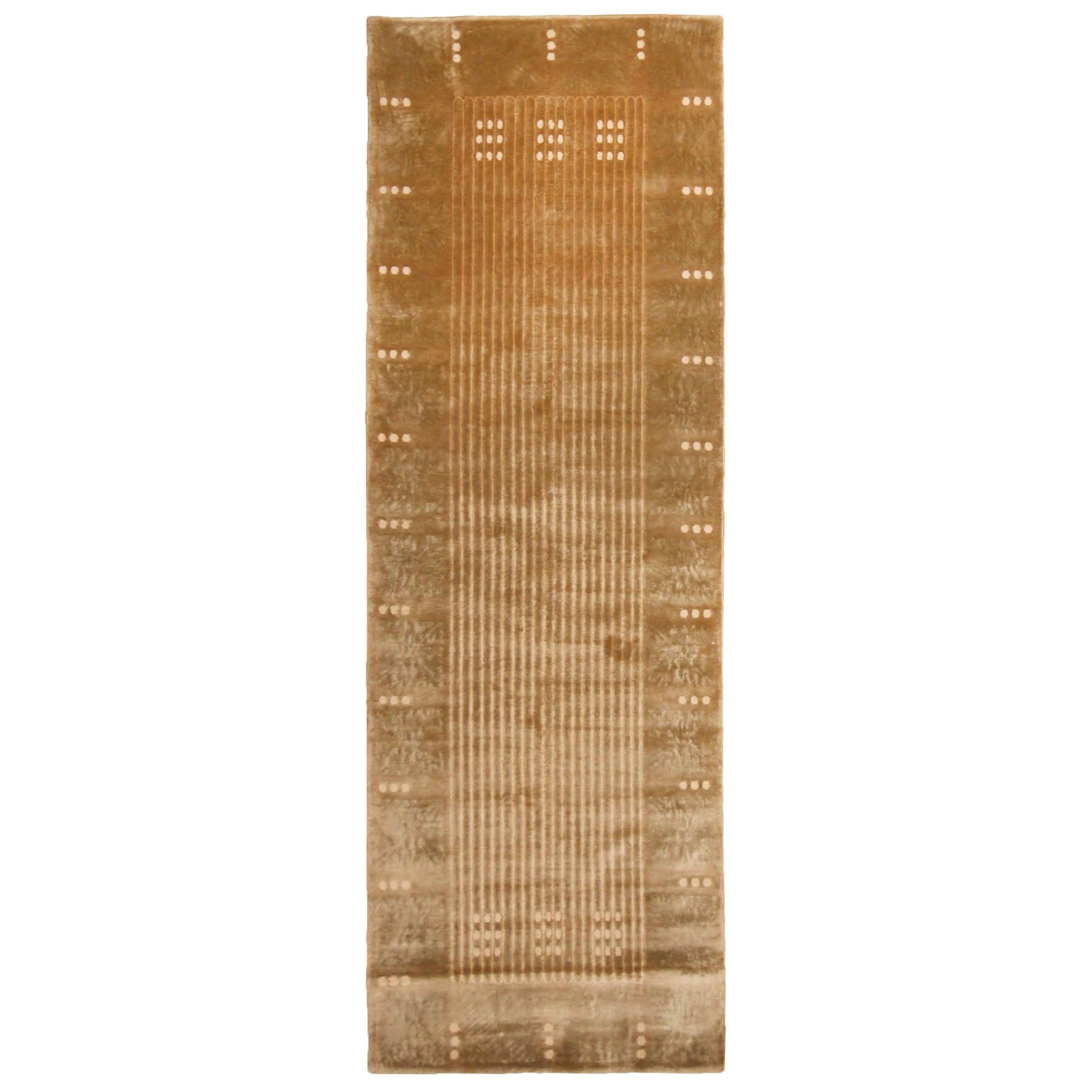 Maze Design Geometric Beige Wool and Silk Runner