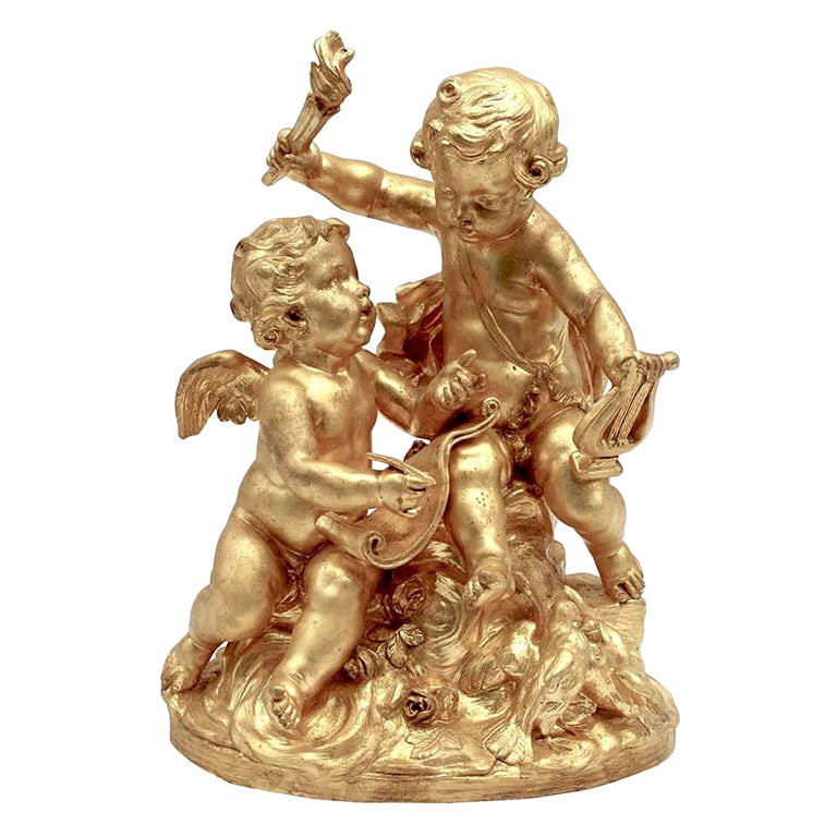 Allegory of Music, Gilt Terracotta, 20th Century