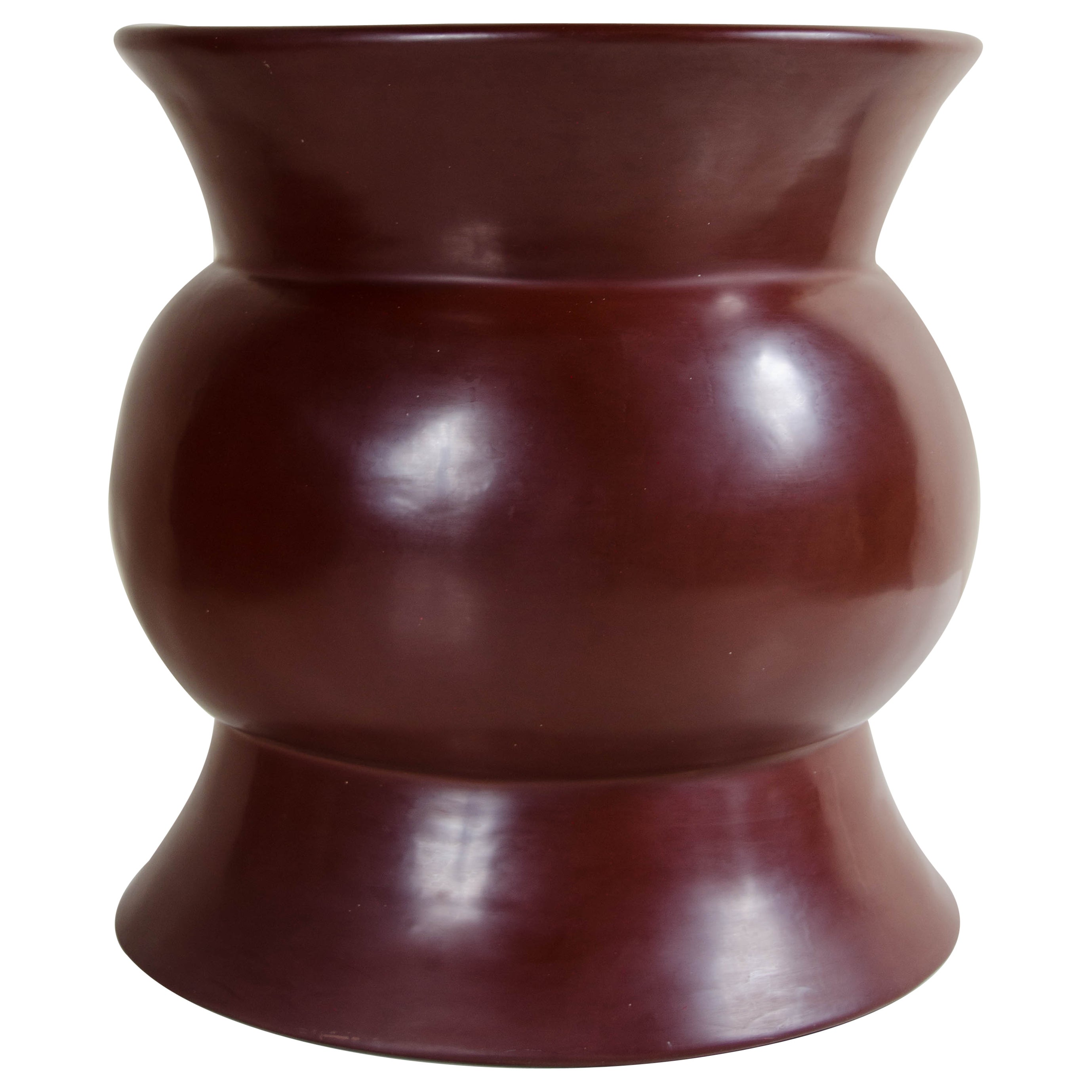 Zun Drumstool, Red Bean Lacquer by Robert Kuo, Handmade, Limited Edition